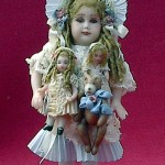 Glass Eye Doll with Dollies and Bear by Lynn McEntire