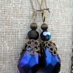 Vintage Brass Earrings with Iridescent Stones