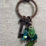 Vintage Brass Key Pendant with Beads