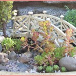 Living Miniature Garden with Bridge