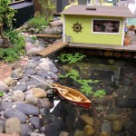 Living Miniature Garden with Boat, Side View