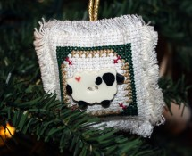Cross Stitch Sheep Button Ornament