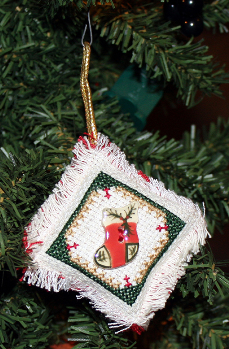 Cross Stitch Stocking Button Ornament