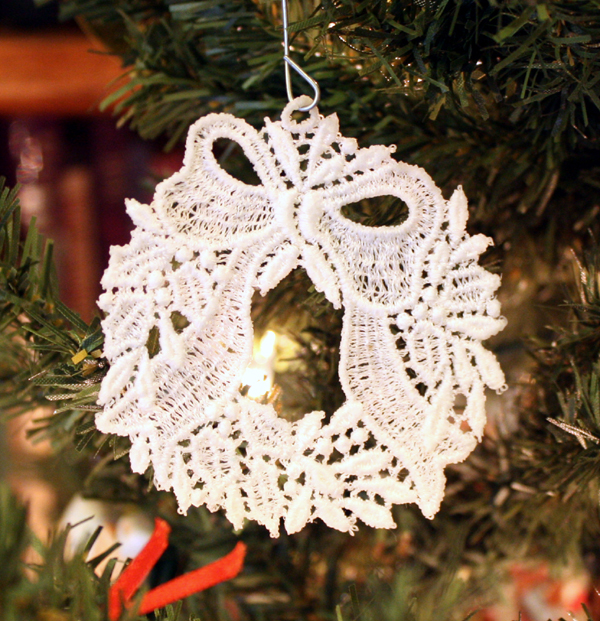 Lace Wreath Ornament - Fabric Stiffener