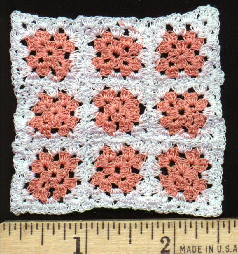 One Inch Scale Miniature Granny Square Afghan, Peach & White
