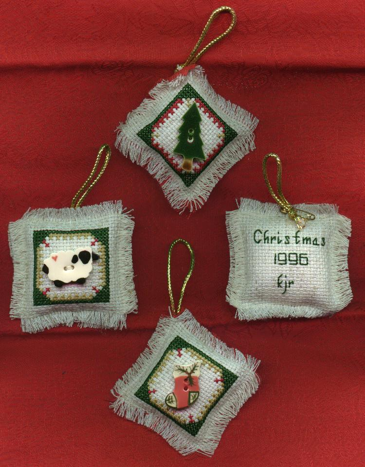 Cross Stitched Christmas Ornaments with Buttons