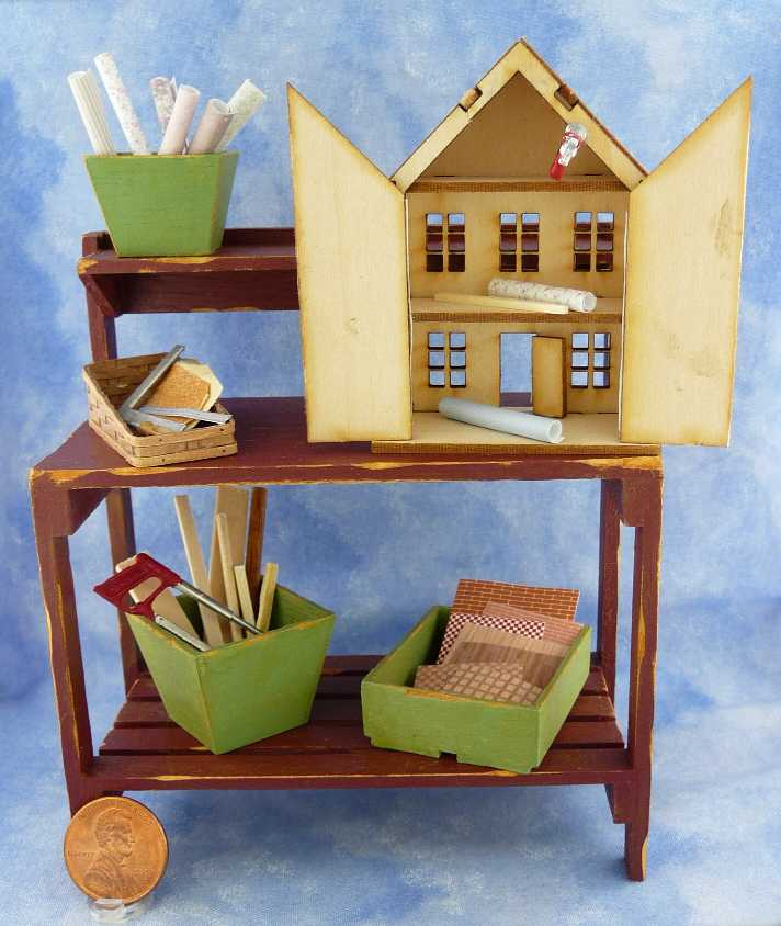 Miniature Dollhouse on Workbench by Kathryn Depew