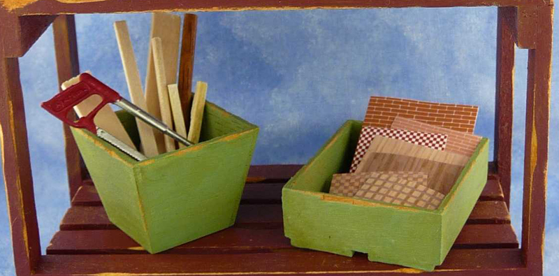 Miniature Dollhouse on Workbench by Kathryn Depew - Bottom Shelf