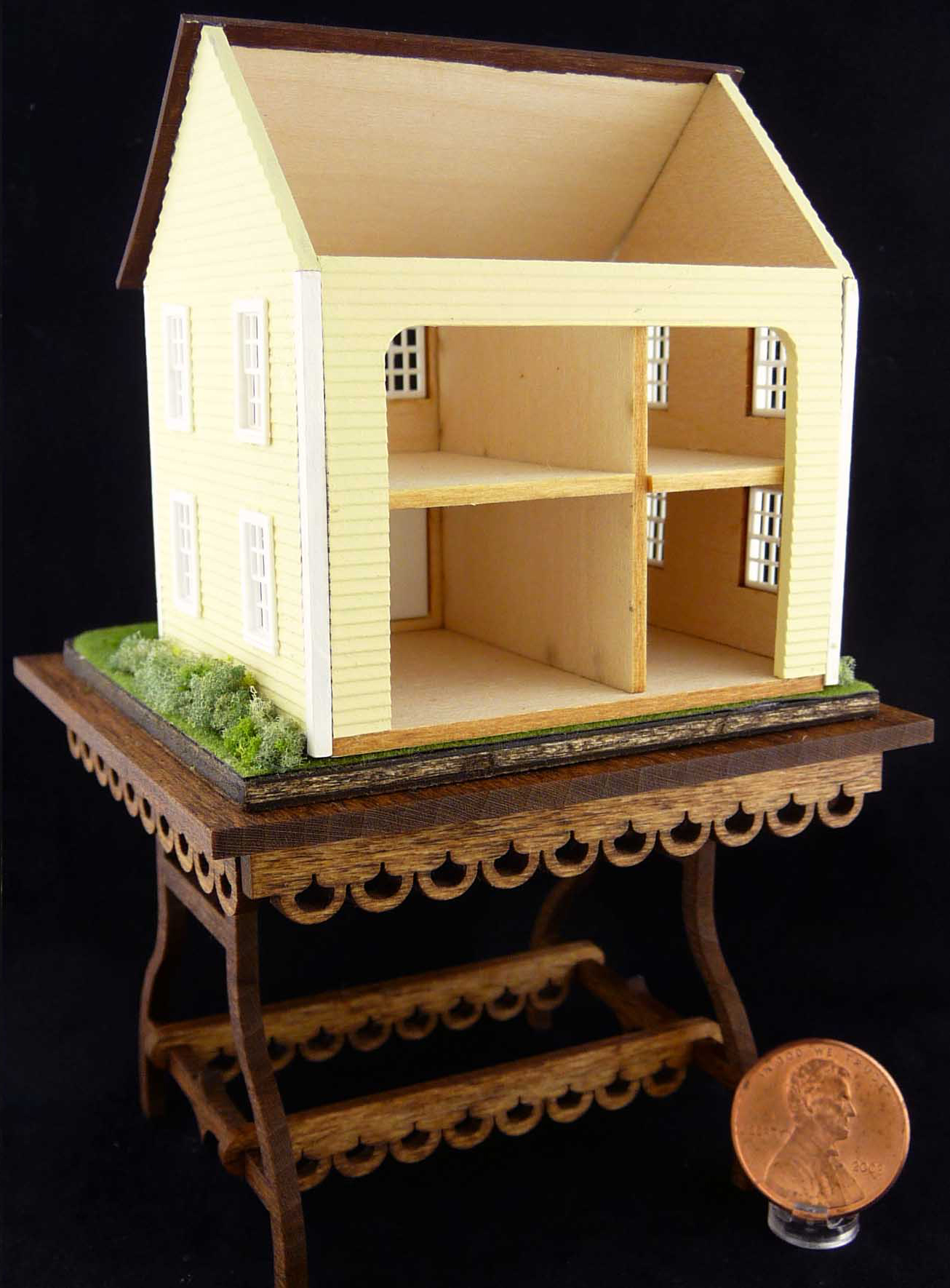 Landscaped Dollhouse for a Dollhouse On Table by Kathryn Depew - Back View