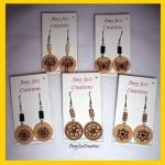 Woodburned Earrings by Amy Rabold