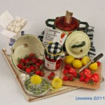 Miniature Strawberry Jam Preparation Board by Linda Cummings