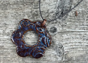 Blue Rutile Large Flower Stoneware Clay Pendant