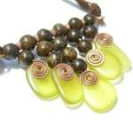 Brown and Lemon Green Pendant by Yelena Turetsky Merener