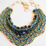 Fiber and Bead Bib Necklace by Khatuna Zarandia-algar