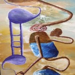 Golden Blue Painting by Peter Nyanjui Mburu