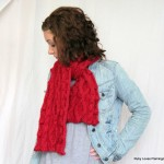 Red Cable Knit Scarf by Maya