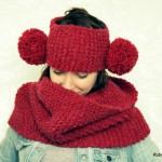 Red Knitted Cowl and Pom Pom Headband Set by Maya