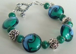 Sea Turtle Lampwork Bracelet by Rosemary Zamecnik