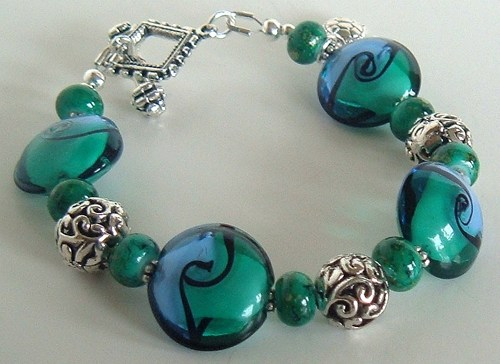 Sea Turtle Lampwork Bracelet by Rosemary Zamecnik