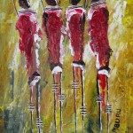 Village Maidens Painting by Peter Nyanjui Mburu