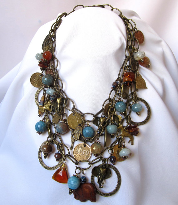 Brass chain bib necklace by Hortensia Gibbs