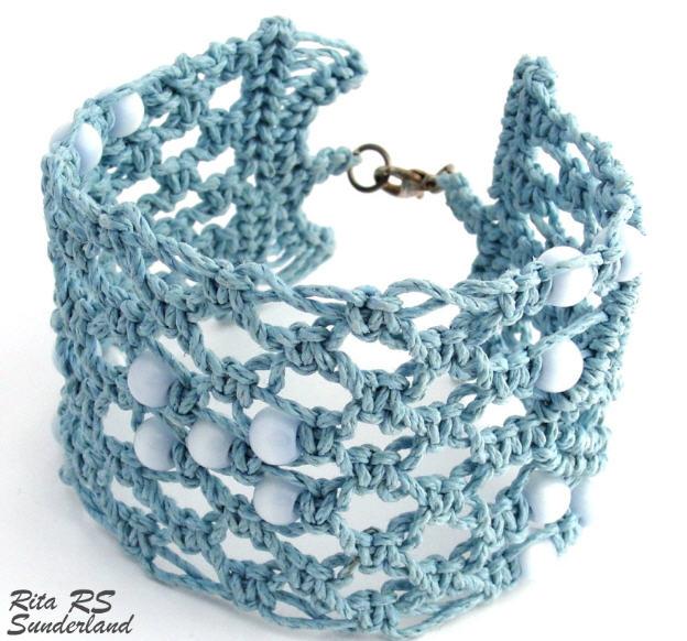 Macrame Teal Blue Hemp Bracelet by Rita Sunderland