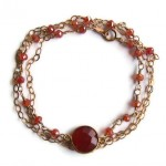 Three In One 14K Gold Filled Carnelian Jewelry by Rita Sunderland