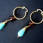 Turquoise and Amber Crystal Earrings by Hortensia Gibbs