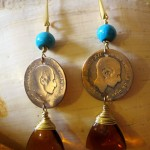 Vintage Spanish brass coin and turquoise dangle Earrings by Hortensia Gibbs