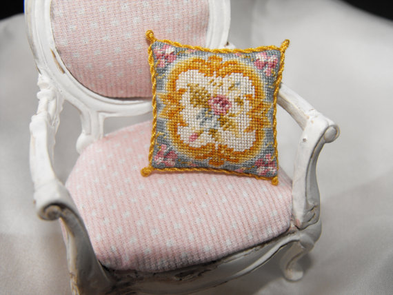 Miniature Needlework Aubusson Blue Cushion by Nicola Mascall