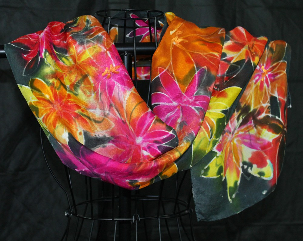 Stained Glass Hand Painted Silk Scarf from Mauveine Silk