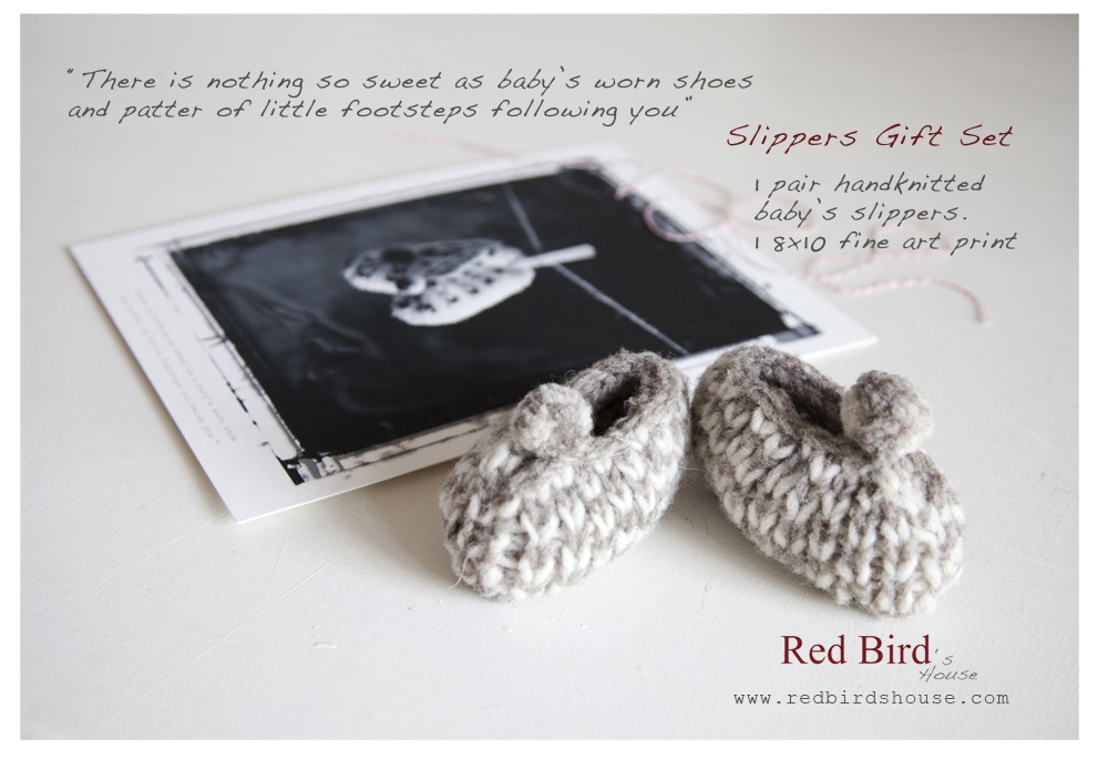 Red Birds House Slipper Gift Set