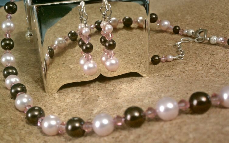 Handmade Wedding Jewellery Ideas : Wedding jewelry swarovski crystals and pearls pink brown bridal