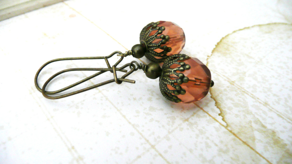 Glass and Brass Acorn Dangle Earrings by Rebekah Kreiger