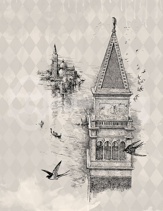 Vintage style Instant Download Swallows and Tower Digital Graphic by Rebekah Kreiger