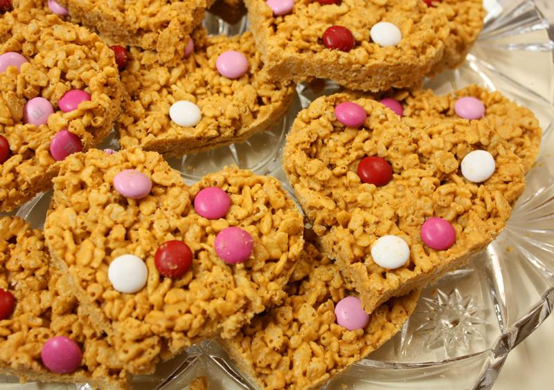 Peanut Butter Butterscotch Heart Shaped Rice Krispie Bars