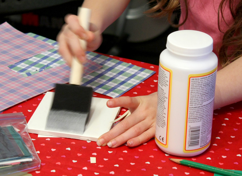 Valentines Party Making Tile Coasters 1