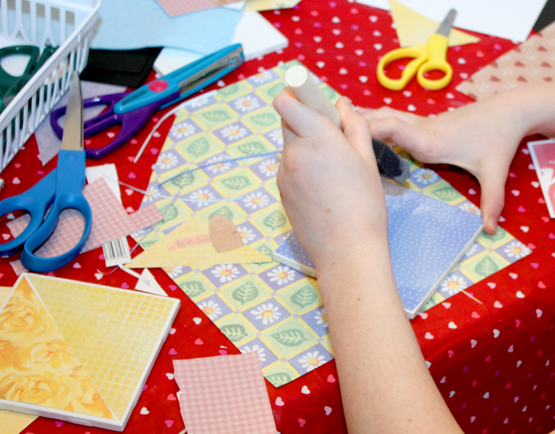 Valentines Party Making Tile Coasters 3