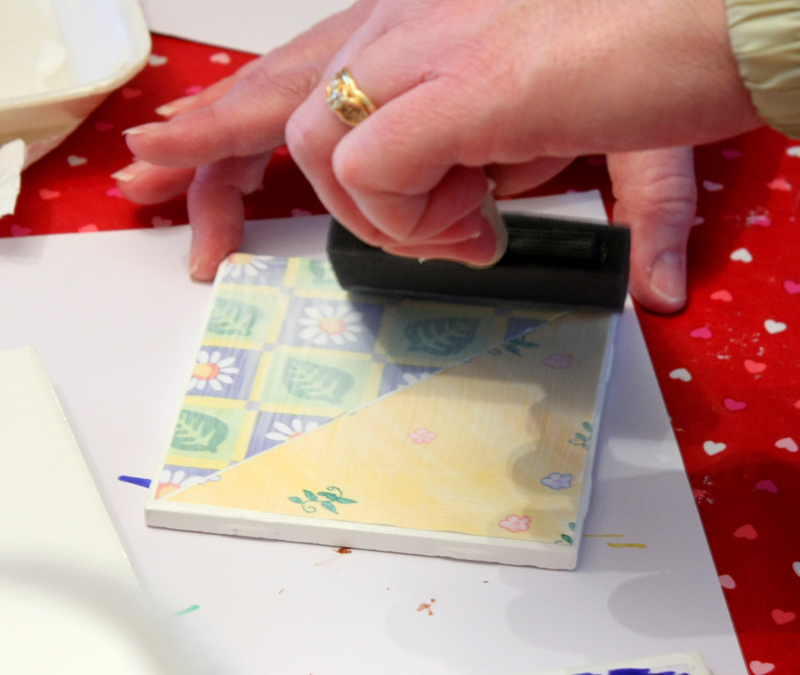 Valentines Party Making Tile Coasters b