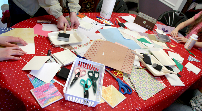 Valentines Party Making Tile Coasters