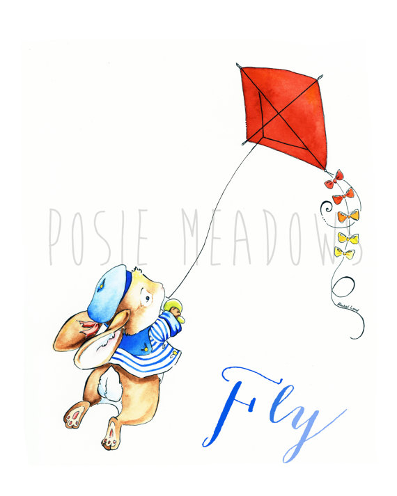 Kite Flying Watercolor by Posie Meadows
