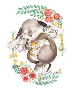Somebunny Loves You Watercolor by Posie Meadows